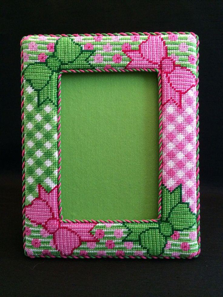 Cute preppy needlepoint frame ~ canvas by Barbara Bergsten