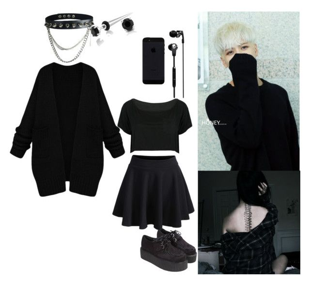"""""""#blackpunk #colorblind #punk #emo"""" by kittyshoya ❤ liked on Polyvore featuring Skullcandy, Bling Jewelry and WithChic"""