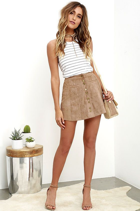 Time and Pace Taupe Suede Skirt at Lulus.com!
