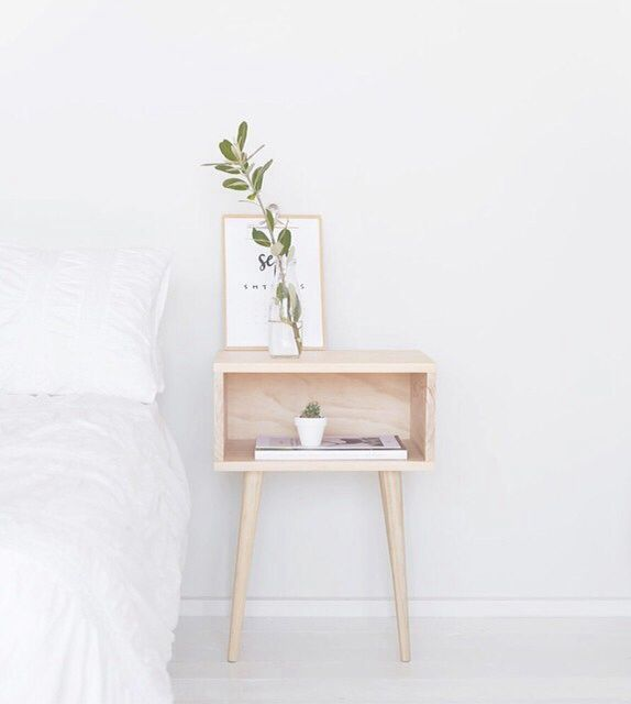 plainest white br w/wood nightstand