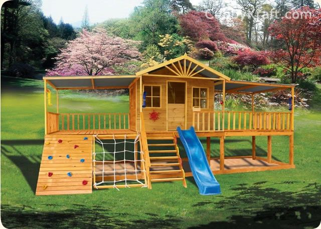 Build a structure where the kids would never want to come in! Combo Playhouse, Covered Play Structure and Sand Pit/Outdoor Toy Storage. Swings could be added. Built by Cubby Kraft, photo features Sandalwood Lodge Cubby House. Link leads to 50+ playhouse/structure examples.