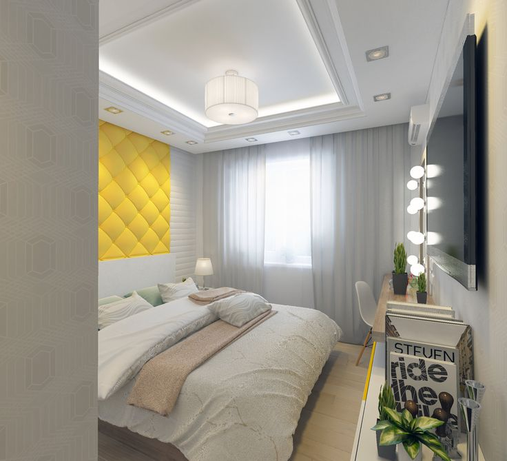 Спальня. Телевизор. Желтое изголовье кровати. Зеркало с подсветкой. Дизайн-проект. Бежевый пол.