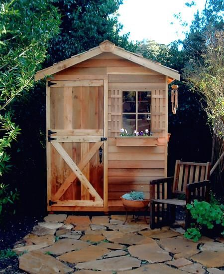 Find small gardening sheds on sale at Cedarshed. These little garden shed kits are made from Western Red Cedar and come in 7 wooden designs with plans.