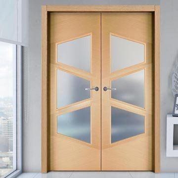 Sanrafael Lisa Glazed Double Fire Door - Model K05V3 Oak Decape Prefinished. #fireoakdoors #oakdoorfair #frostedglassdoors