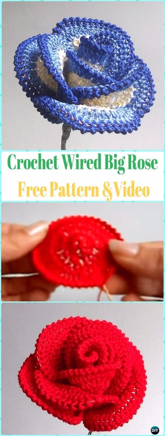 Crochet 3D Wired Big Rose Flower Free Pattern &Video