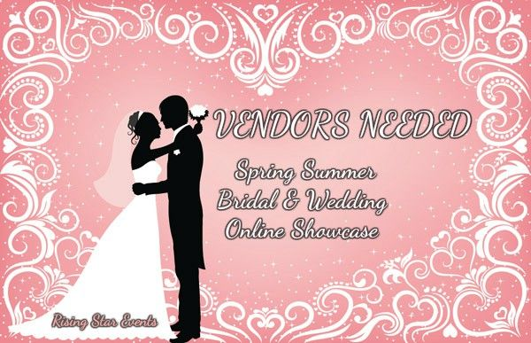 WEDDING VENDORS NEEDED     What is your wedding service or product?      Send me a PRIVATE MESSAGE on Facebook (https://www.facebook.com/QueenValerie1967) with what your service or product is & I will send you an invite to an ONLINE Bridal & Wedding  Showcase.    April 17 – April 23 right here on Facebook   $25 per vendor  https://www.facebook.com/events/240852709617307/