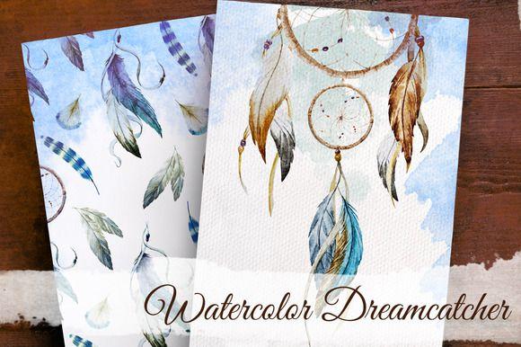 Set of Watercolor Dreamcatcher by Lembrik's Artworks on Creative Market