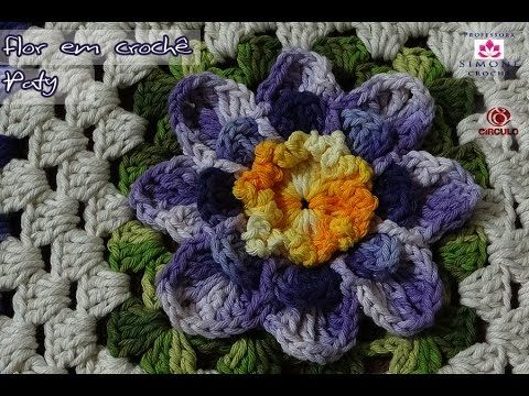 Passo a passo Flor Paty em Crochê - Professora Simone - YouTube