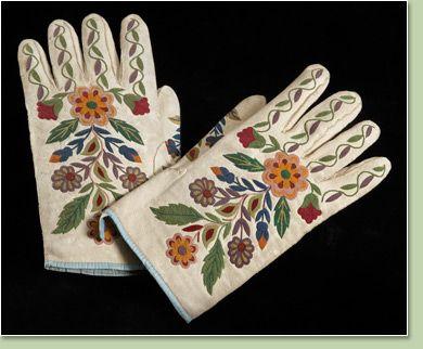 Gloves  late 19th century  deerhide, silk embroidery thread, cotton thread