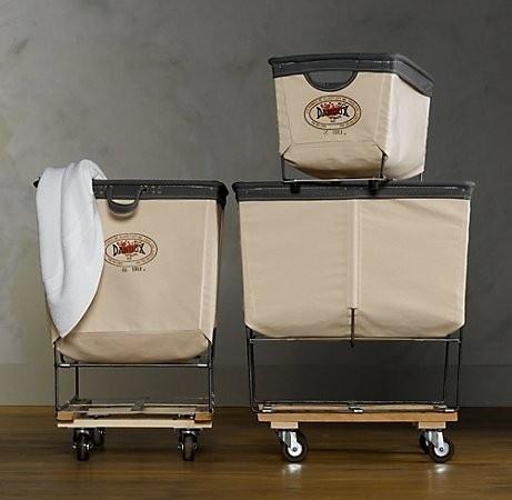 industrial strength laundry baskets - restoration hardware $129