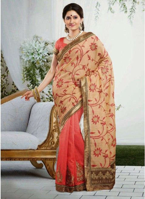 Melodic Beige & Tomato Embroidered Color Art Silk Based Embroidered #Saree #clothing #fashion #womenwear #womenapparel #ethnicwear