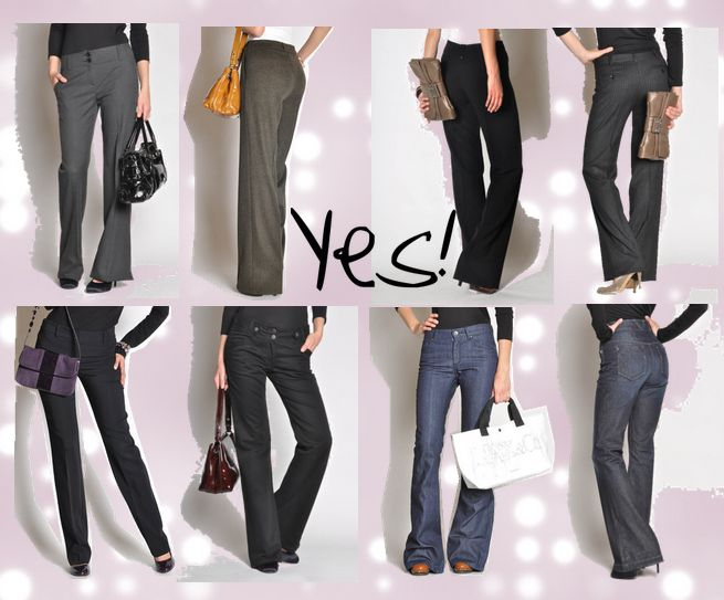 Flare or Boot Cut is where it's at for a Triangle Shape!  How to dress the Triangle Body Shape or Pear Shaped Woman