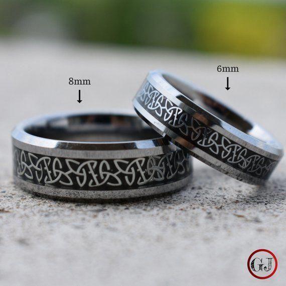Tungsten Celtic Trinity Knot Ring Celtic Ring Silver Ring Men S Wedding Band Men S Ring Irish Ring S Rings For Men Celtic Wedding Rings Trinity Knot Ring