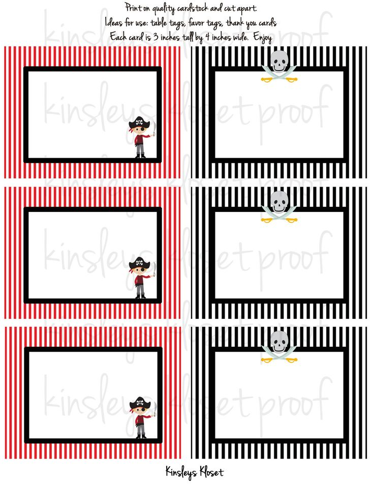 Printable Party Favor Tags/Labels/Food Table Labels - Pirate Party Favor Tags/Labels - Pirate Party Printables. $6.50, via Etsy.