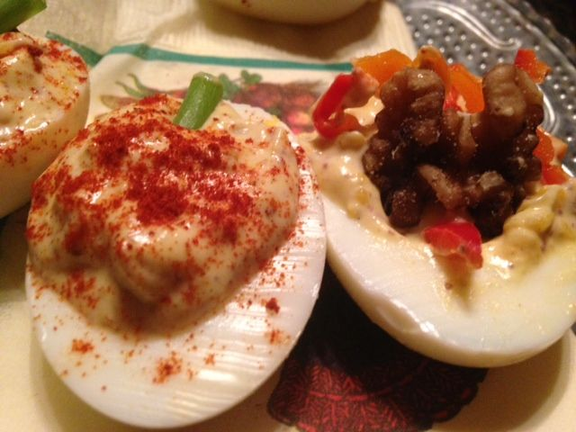 THANKSGIVING DEVILED EGGS * PUMPKINS (smoked paprika) and TURKEYS (walnut half, colored bell pepper slivers) **