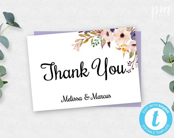 Lavender Floral Thank You Card Template Wedding Thank You Cards Printable Thank You Cards Thank You Card Template Printable Thank You Cards Thank You Cards