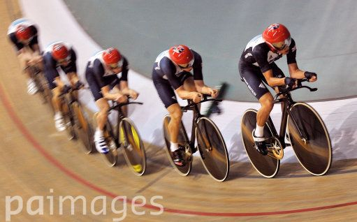 Great Britain's men's team pursuit squad of Steven Burke, Ed Clancy, Pete Kennaugh, Andy Tennant and Geraint Thomas during the Track Cycling Media day at the National Velodrome, Newport.