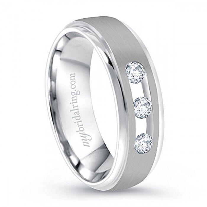Superb Find Three Diamond Studed Wedding Band in White Gold Mybridalring pany provides fort fit Three Diamond Studded Wedding Band in White Gold for Men