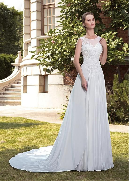 Gorgeous Satin Chiffon Bateau Neckline A-line Wedding Dresses With Beaded Lace…