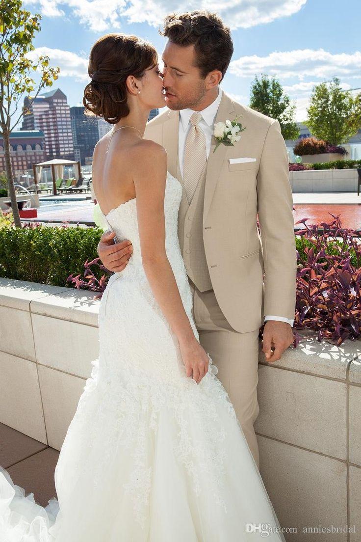Custom beige wedding suit for men notched lapel mens Suits tan Tuxedos Two Button groomsmen suit three piece suit (Jacket+Pants+Tie+Vest)