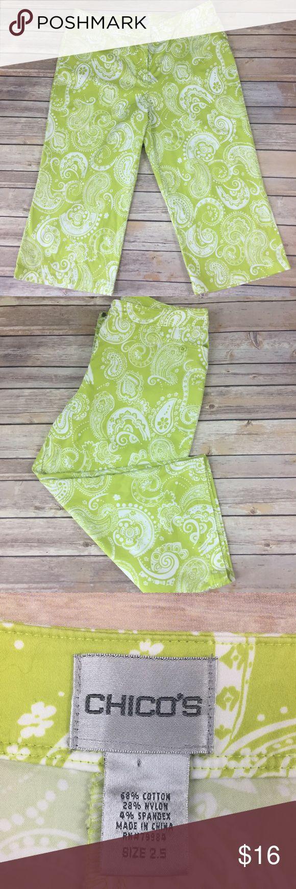 "Chicos Paisley Capri Cropped Pants Lime Green 2.5 Chicos cropped pants in a lime green Paisley pattern. Excellent condition, size 2.5. Flat lay measurements: Waist 17.5"" Inseam 20"" Outseam 30.5"".   A25xp Chico's Pants Capris"