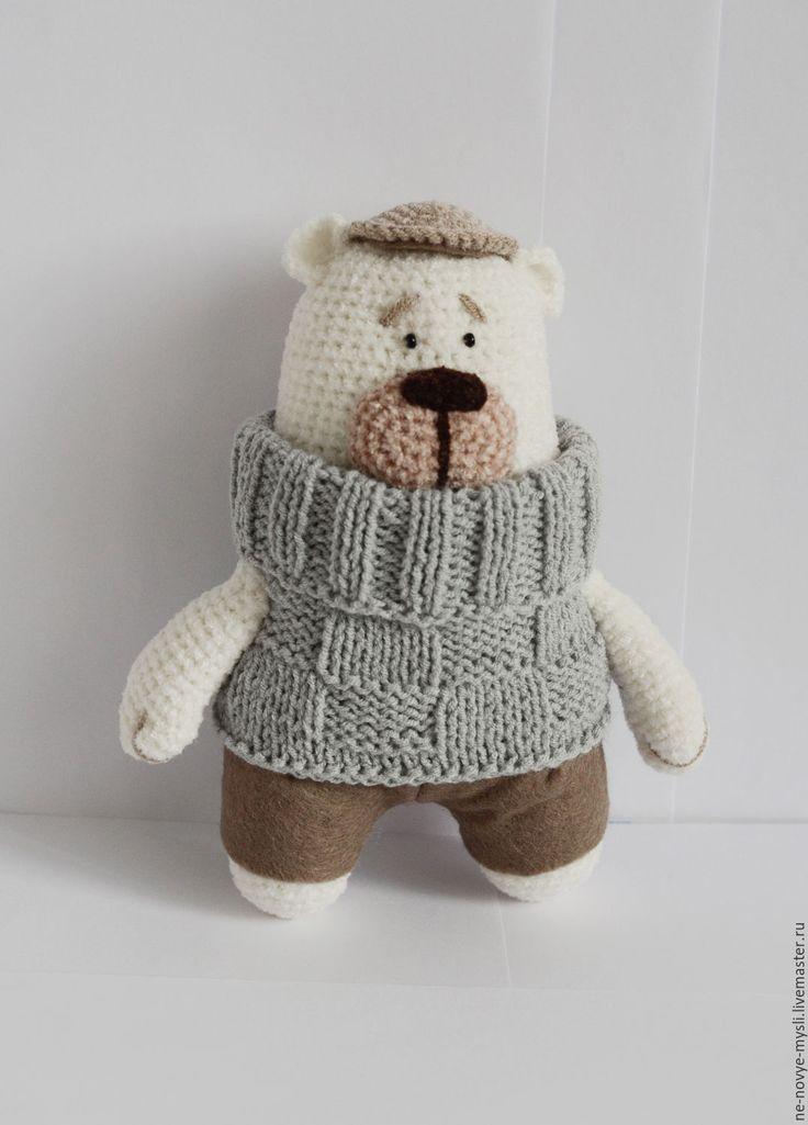 Купить Медведик Ваня - белый, медведь, вязаный медведь, игрушка медведь, вязаная игрушка, медвежонок