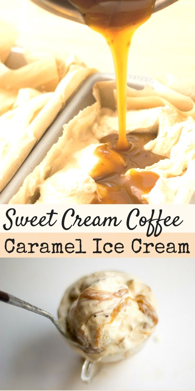 Sweet cream & dark coffee ice creams with a coffee scented caramel sauce. This irresistable Sweet Cream Coffee Caramel Ice Cream is low carb, sugar free, THM S. via @joyfilledeats