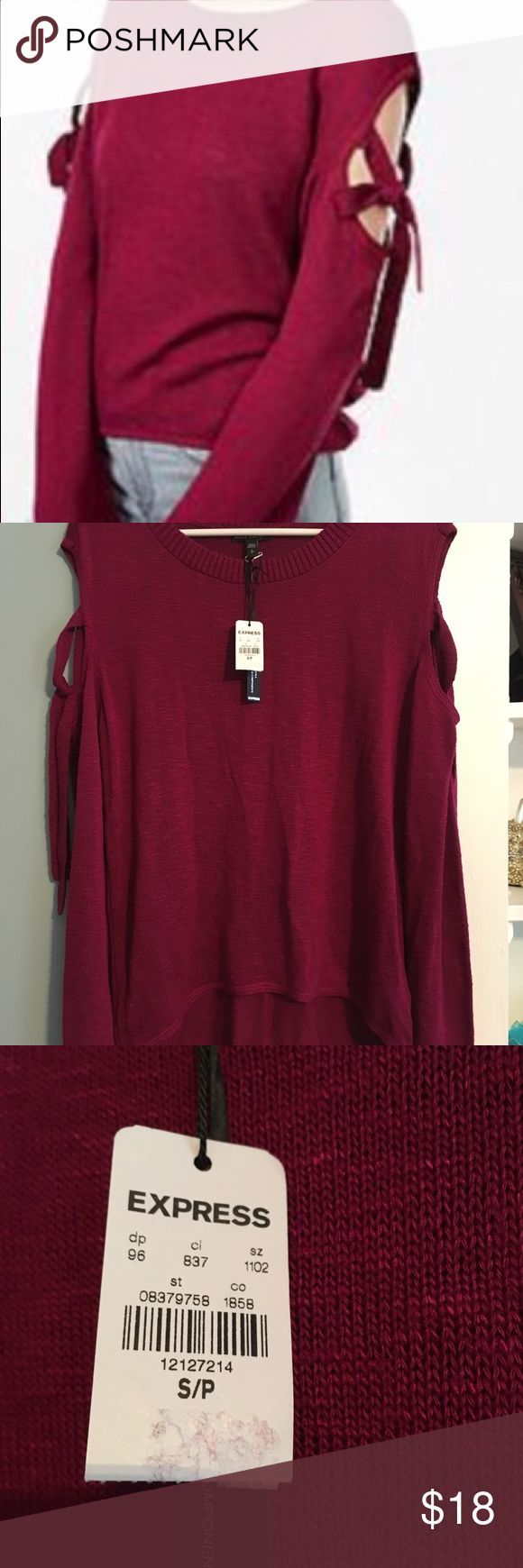 Express sleeve tie high-low sweater New with tags. Sweater is a scoop neck, open at sides with ties. Ties can be knotted or tied in bows. Sleeves have a slight bell at cuffs and sweater is a high-low hem. Very light material...great transitional piece from winter to spring! Express Sweaters Crew & Scoop Necks