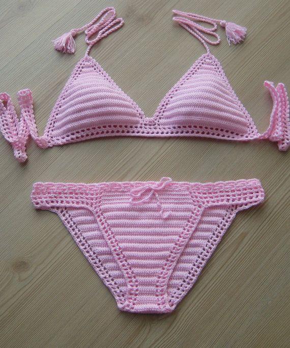 2015 summer crochet powder pink bikini women brazillian bikini swimwear beach wear / FORMALHOUSE