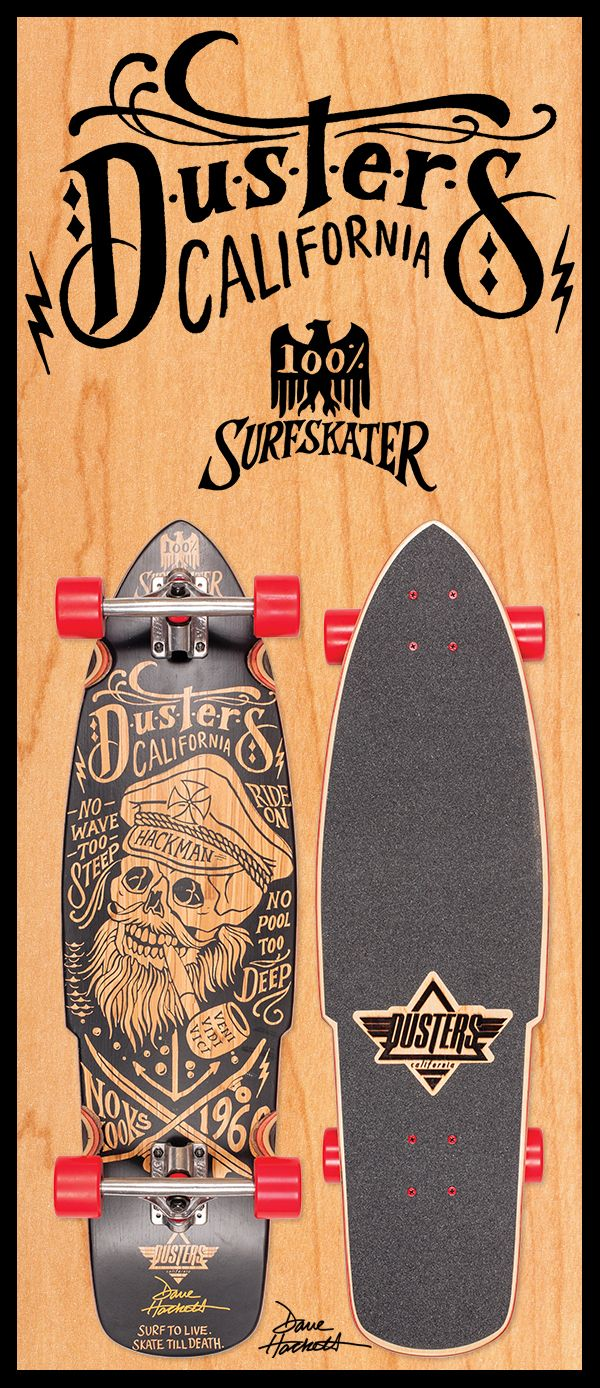 This has to be one of our most exciting collaborations yet! We introduce the Dusters Hackman longboard. This board was created as a homage to 70's skate pioneer, Dave Hackett.