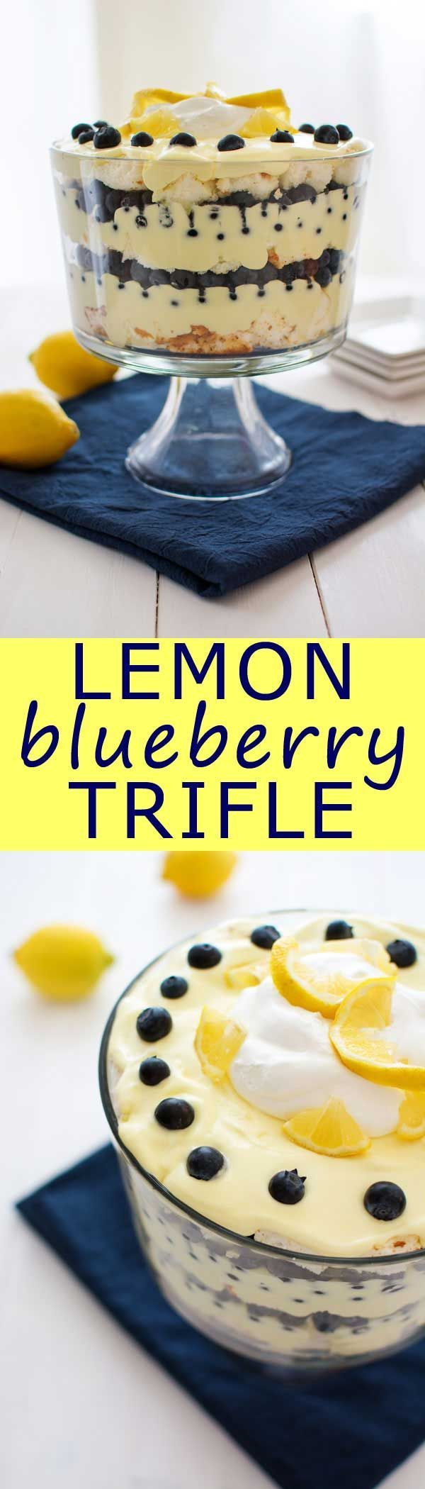 Lemon Blueberry Trifle: lemon pudding, cool whip and juicy blueberries. Can be made with angel food cake or pound cake! (Bake Desserts Cool Whip)