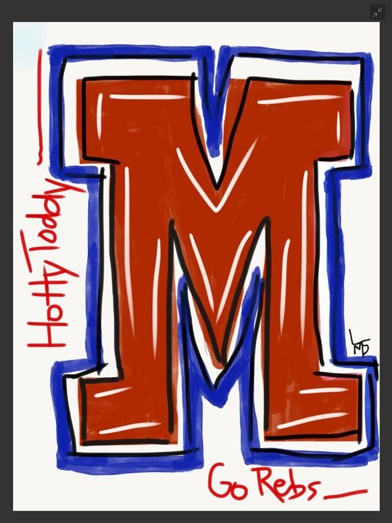 Ole Miss Rebel M by MeaningfulMorsels on Etsy
