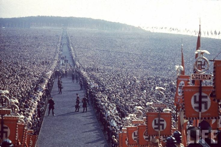 "Nazi rally at Nuremberg in 1937.  A country said ""They didn't know?  They are sorry for the holocaust and other atrocities and their full scale war!  WWII to be exact! Look well into this picture and look at a civilization that says they were quite supportive of those horrendous acts against humanity."