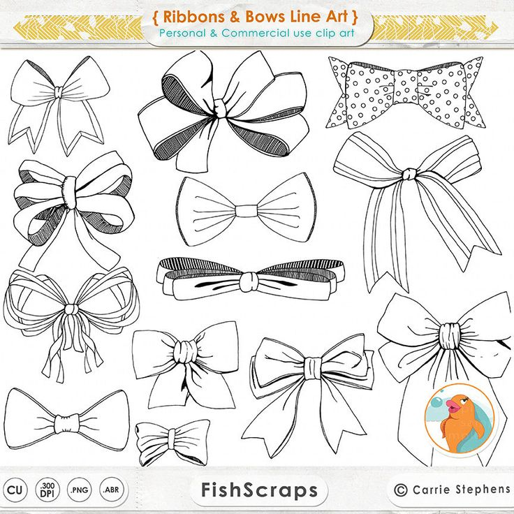 Ribbons & Bows Line Art Tied Bow ClipArt Hand Drawn by FishScraps