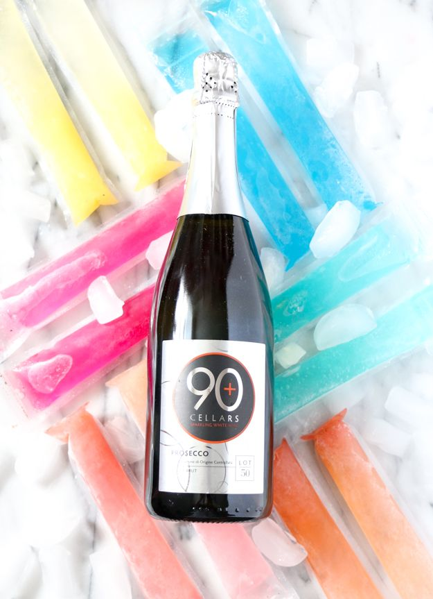 Frozen Mimosa Popsicle recipe with 90+ Cellars Lot 50 Prosecco