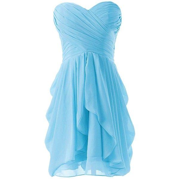 Dressystar Short Strapless chiffon party dress evening dress (110 AUD) ❤ liked on Polyvore