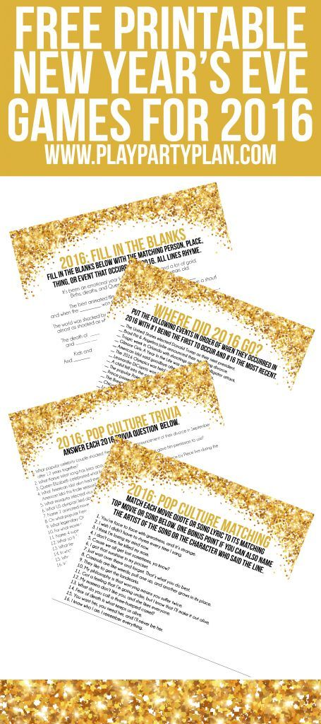 These four free printable 2016 New Year's Eve party games are perfect for adults or even for teens who know pop culture! The best part of these activities is that they're cheap if you're on a budget, you can DIY them last minute, and they're awesome. We're definitely playing at least one for 2016!