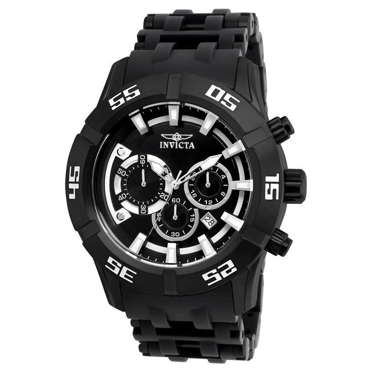 Men's Invicta 21824 Sea Spider Quartz Chronograph Black Dial Strap Watch - Black