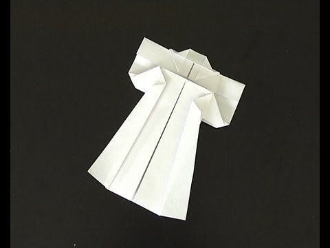 origami pliage papier kimono - YouTube - visual instructions only; no voice.  Uses a square piece of paper.