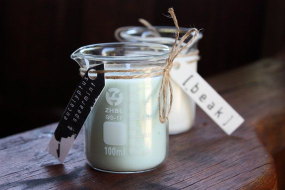 Cool - Candles in beakers!  Eucalyptus & Spearmint Soy Candle  Small by beakcandles on Etsy, $15.00