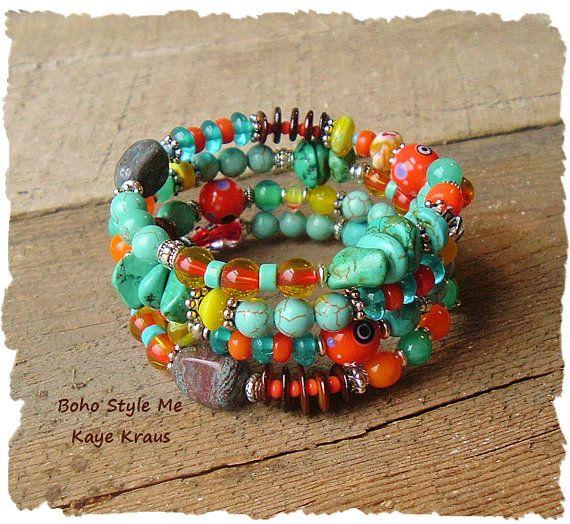 Layered Turquoise Bracelet Boho Southwest Bracelet by BohoStyleMe