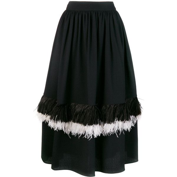 Christopher Kane feather princess skirt ($1,095) ❤ liked on Polyvore featuring skirts, black, midi flare skirt, feather skirts, flared midi skirt, flared skirts and knee length flared skirts