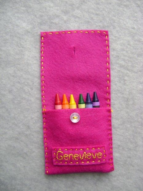 Personalized Felt Crayon Holder FREE SHIPPING by Tuscanycreative