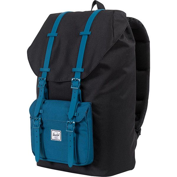Herschel Supply Co. Little America Laptop Backpack ($100) ❤ liked on Polyvore featuring bags, backpacks, black, laptop backpacks, backpacks bags, herschel supply co backpack, black bag and black backpack