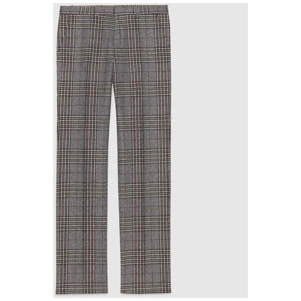 Gucci Flannel check formal pant (€735) ❤ liked on Polyvore featuring pants, formal trousers, checkered pants, checked pants, flannel pants and gucci