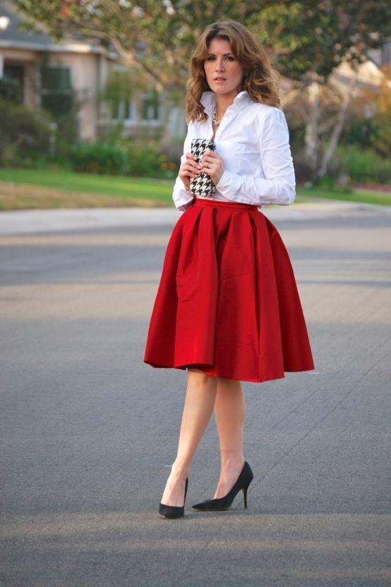 Tea Length Skirts + Crisp White Shirts | Tea length skirt outfit, Tea length skirt, Red and white outfits