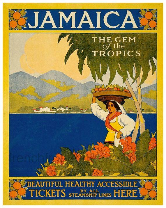 antique art deco travel poster jamaica caribbean island digital download