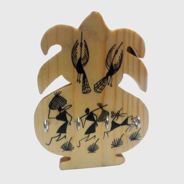 Beautifully hand-crafted Wooden key chain holder with handmade designs imprinted.