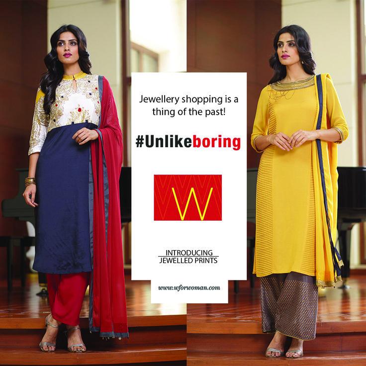 Combine two things you love the most: jewellery and W kurtas. #Jewellery #Unlikeboring #Kurtas #Prints #Festive #Fashion #WomensWear