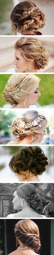 @Natasha Sutila Sutila Sutila Mulligan .... I really like the 2nd one down from top for Jessy's wedding maybe? I like the curls and how it's pulled back from the face but still lots of volume on top...whatcha think? Do-able??